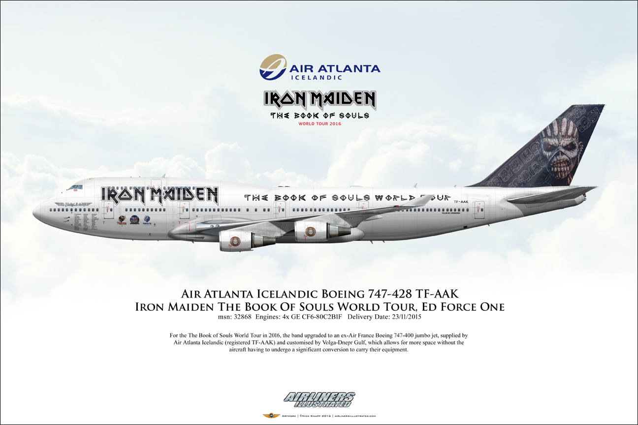 airliners illustrated air atlanta icelandic iron maiden ed force one boeing 747 428 tf aak f. Black Bedroom Furniture Sets. Home Design Ideas