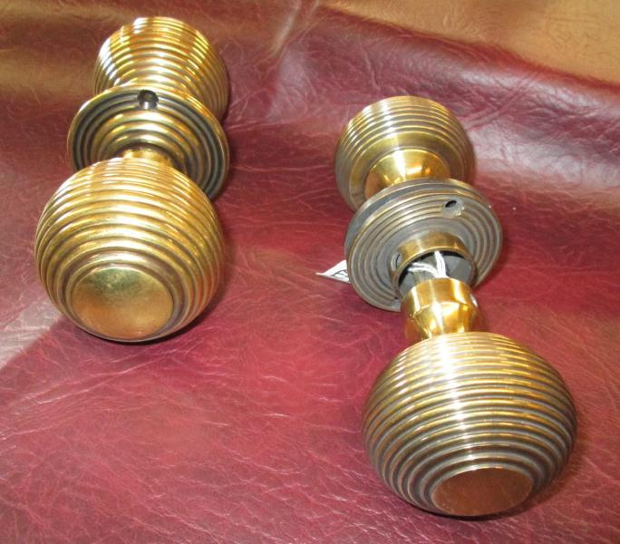 Solid Brass Victorian Style Beehive Door Knobs