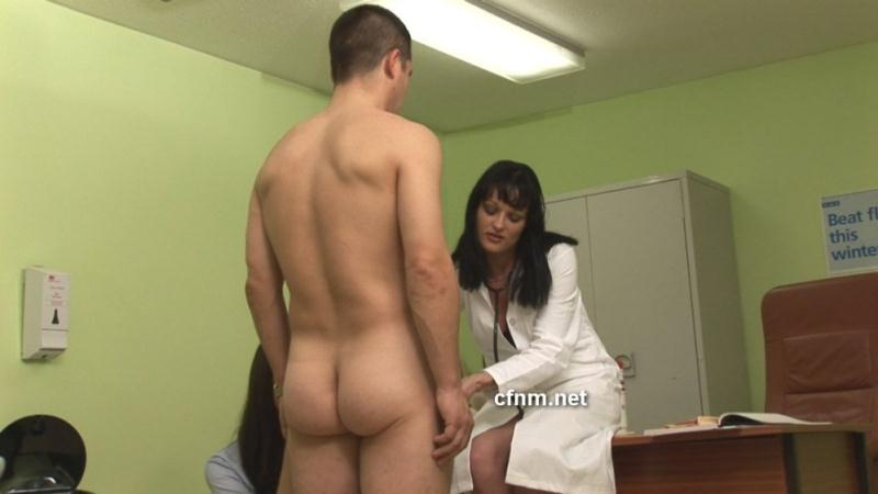 4 cfnm doctors undressing a patient and doing testicle exam 6
