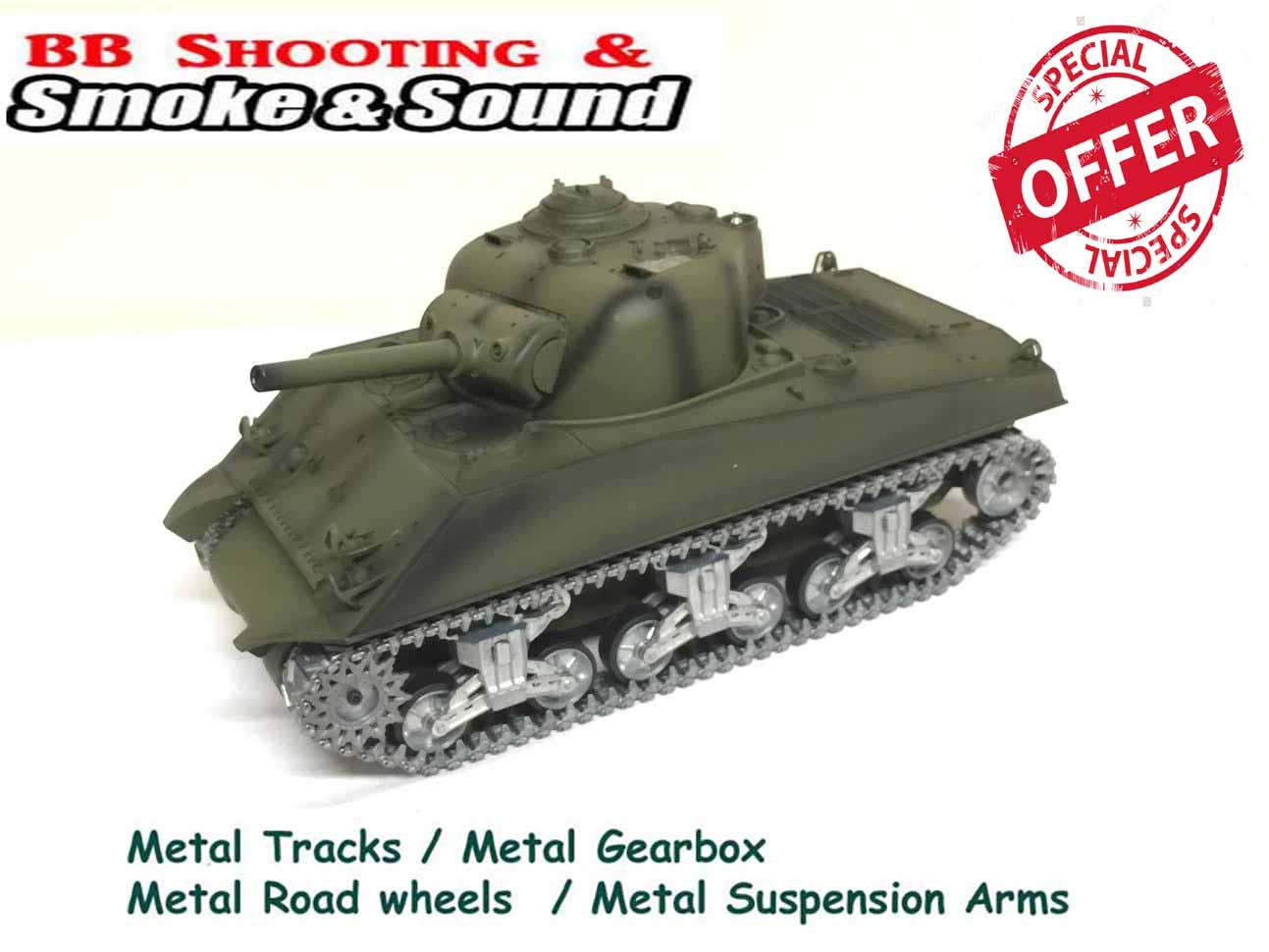 97f4975463f5 Heng Long Sherman M4A3 rc Tank 1 16 PRO with Metal Road Wheels ! 2.4G 5.3  version