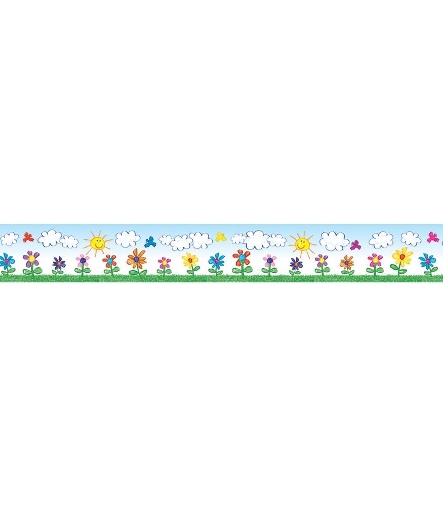 Straight Line Borders Clip Art : Flowers kid drawn straight border