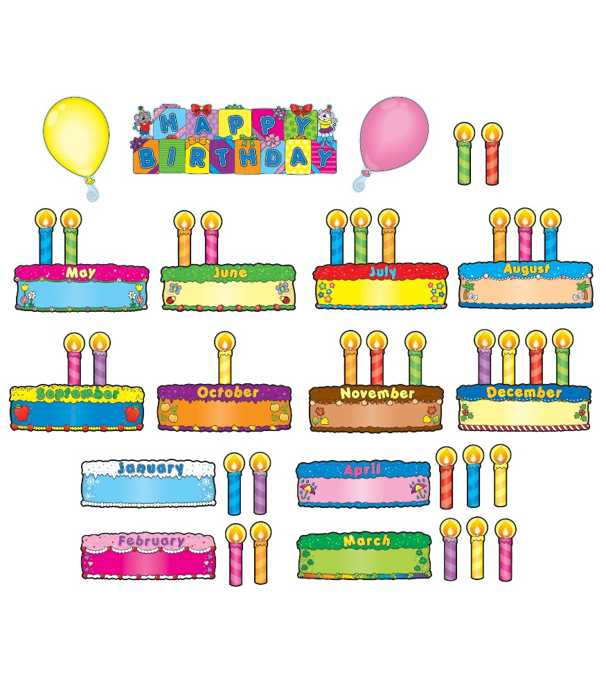 photograph about Birthday Bulletin Board Ideas Printable named Birthday Cakes Mini Bulletin Board Preset