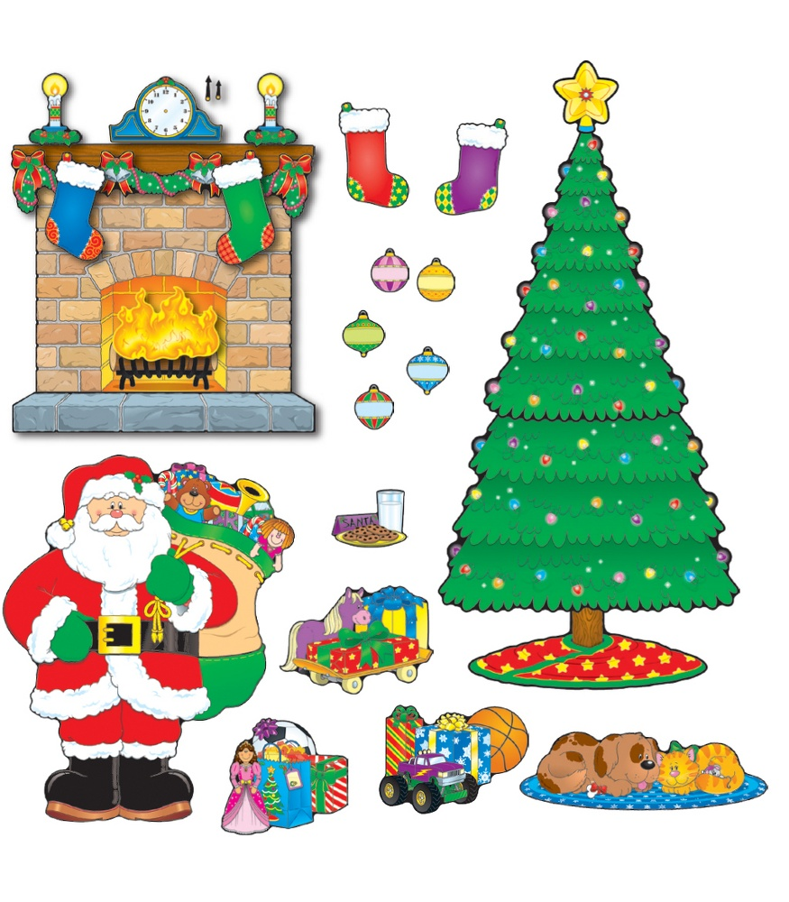 Christmas Tree Display Board.Christmas Scene Bulletin Board Set