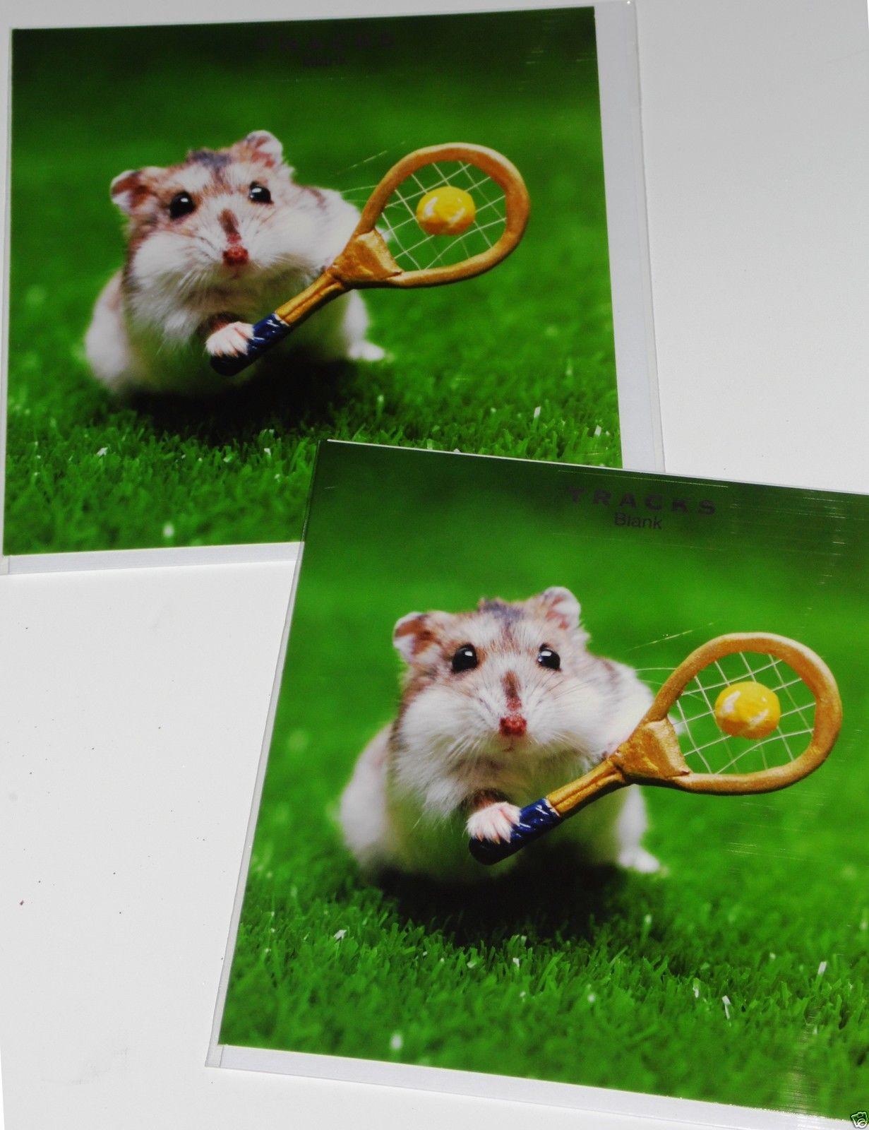 Hamster Playing Tennis Greetings Card Blank Inside