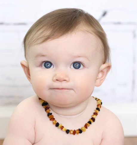 Baltic amber nuggets baby teething necklace for When can babies wear jewelry
