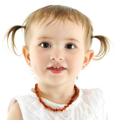 Baltic Amber Baby Teething Calming Round Beaded Necklace