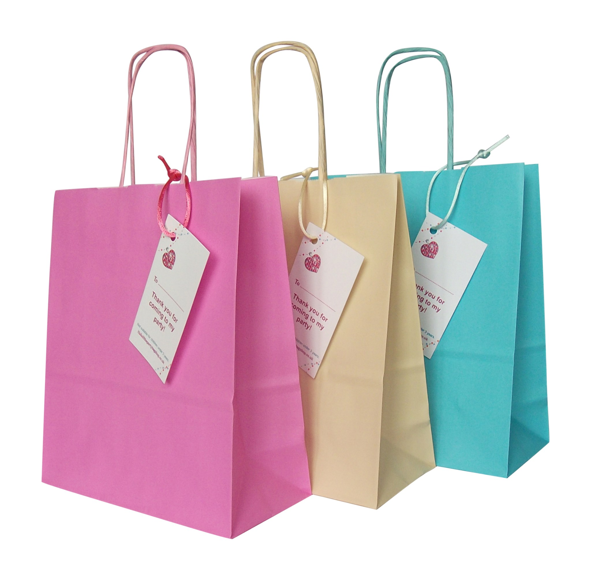 Luxury Pink Ivory Blue Paper Party Bags With Handles Pack