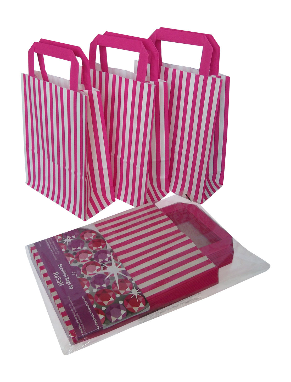 6 X Pink Candy Stripe Paper Party Goody Loot Bags With Handles