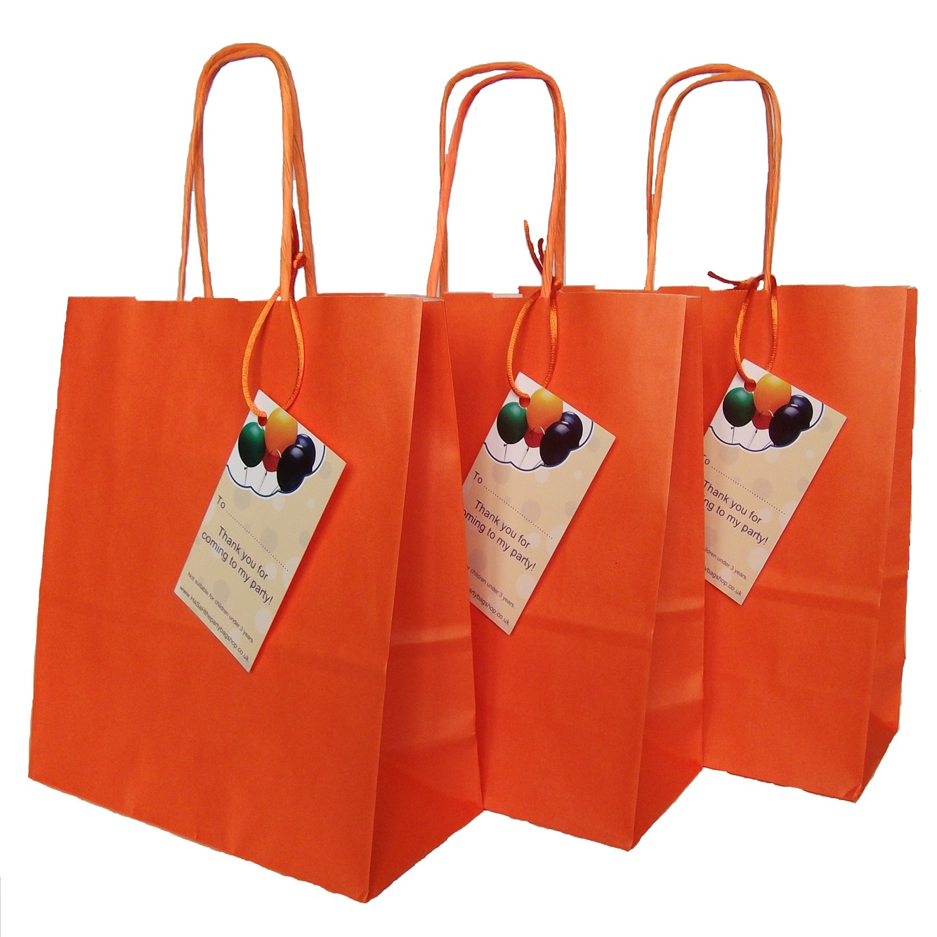 Luxury Orange Paper Party Bags With Handles And Thank You