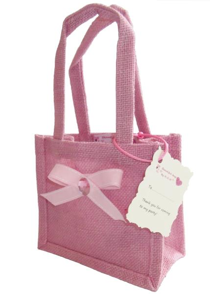 Luxury Pretty Pink Jute Fabric Party Bags Beautiful And