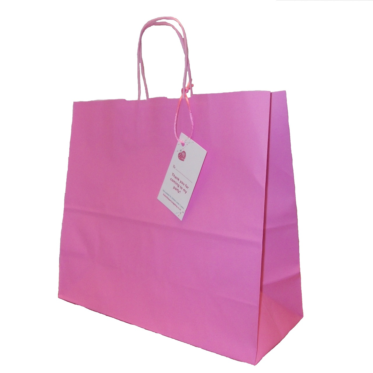 Large Paper Party Bag Pink With Handles Size 32x28x13 Cm