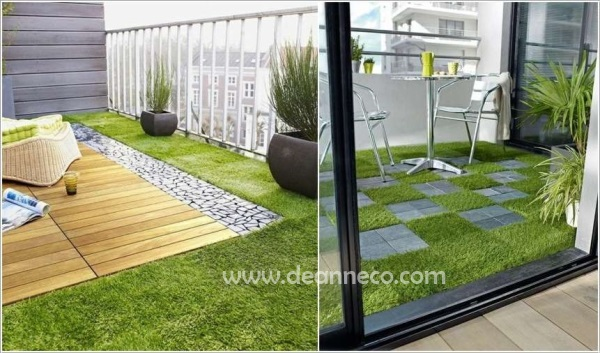 Interlocking Artificial Turf Tiles Easy To Install