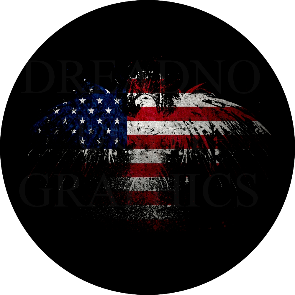 Flag Eagle Silhouette Spare Tire Cover