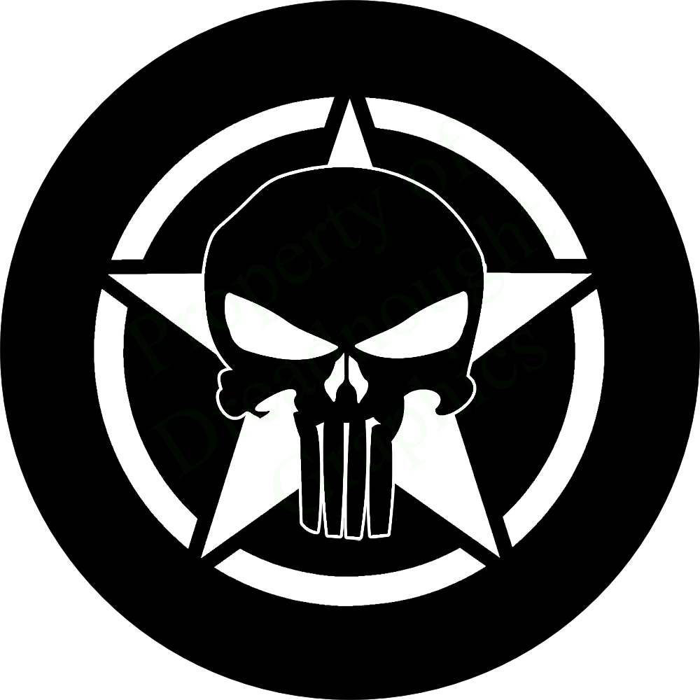 Punisher Skull On Jeep Star Spare Tire Cover