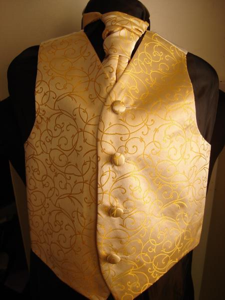 2638130dbbd Boys Gold Swirl pattern Brocade Waistcoat Cravat -Tie-Bowtie Set