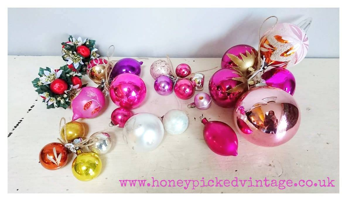 Pink Vintage Christmas Baubles