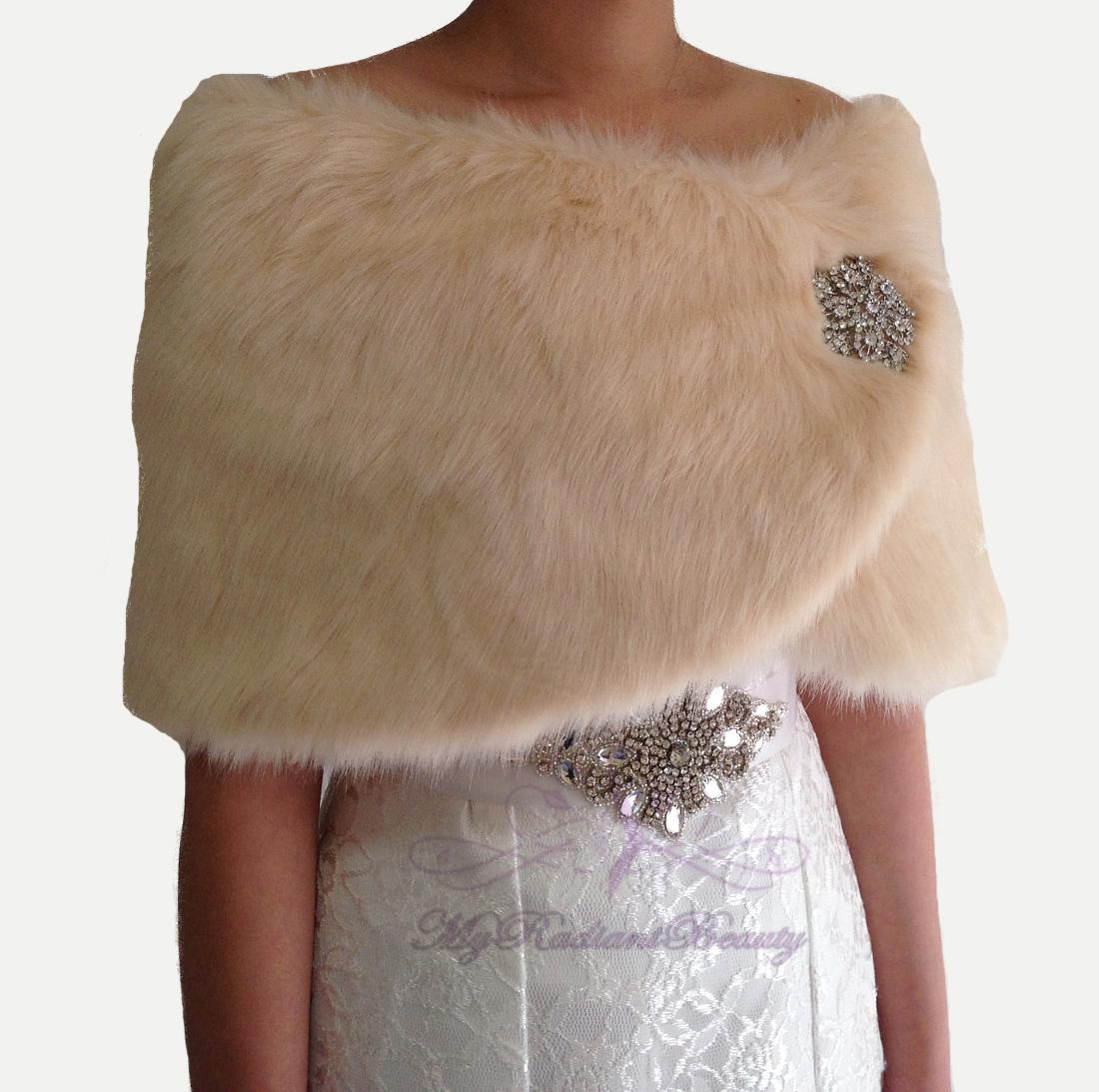 Faux fur wrap bridal champagne faux fur stole bridal fur for Fur shrug for wedding dress