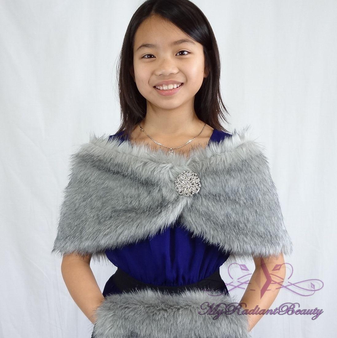 Faux Fur Kid Wrap Grey Chinchilla Faux Fur Stole For
