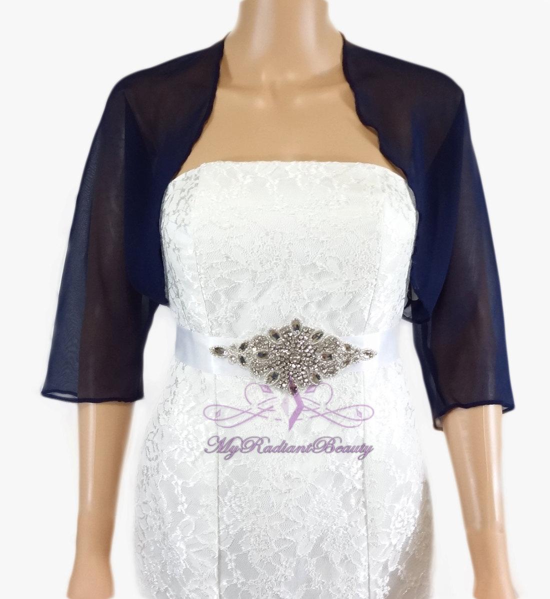 Bridal Navy Blue Silk Chiffon Evening Bolero Jacket