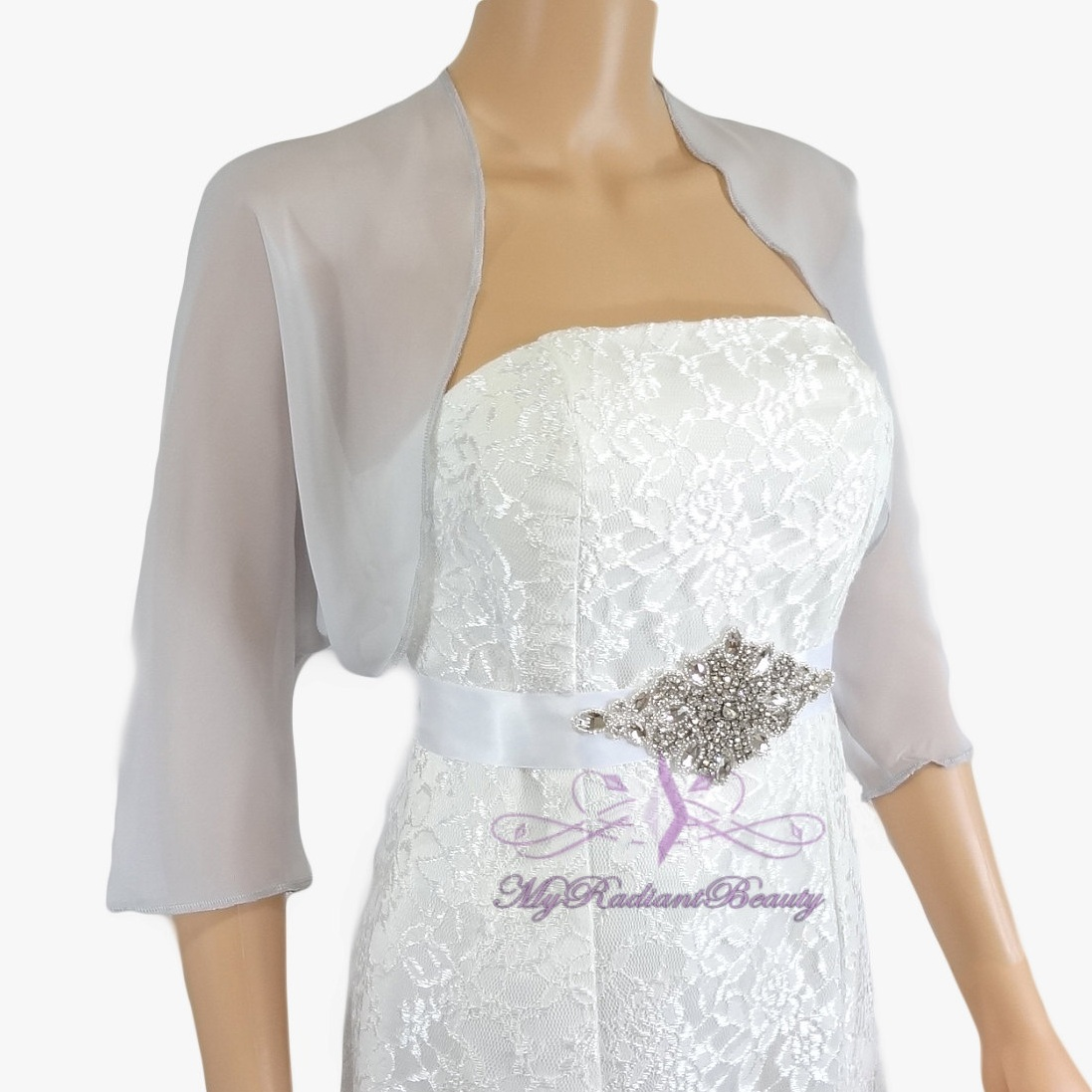 Bridal Silver Grey Silk Chiffon Evening Bolero Jacket