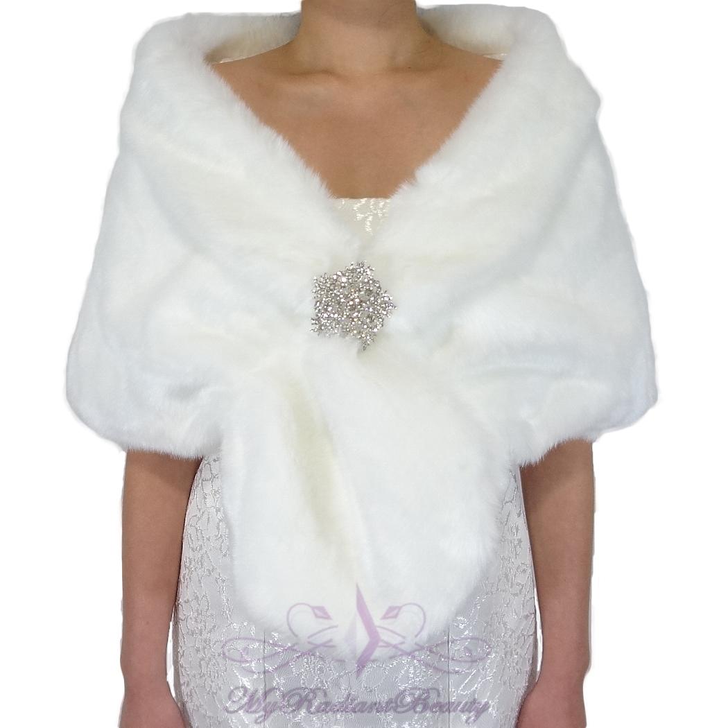 White Fur Stole >> Bridal White Short Faux Fur Stole Fox Fur Shrug