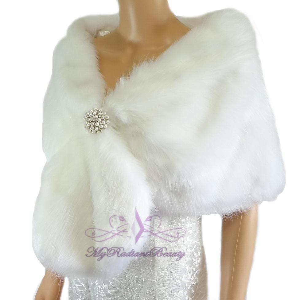 White Fur Stole >> Bridal White Faux Fur Stole Fox Fur Shrug