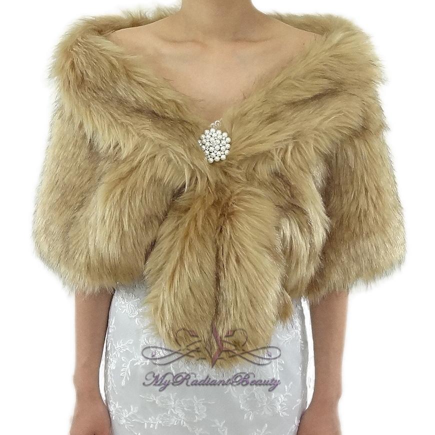 Bridal Vintage Brown Chinchilla Faux Fur Stole Faux Fur Shawl