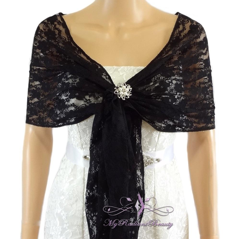 66396badcf Bridal Black Lace Evening Wrap Shawl, Wedding Scarf
