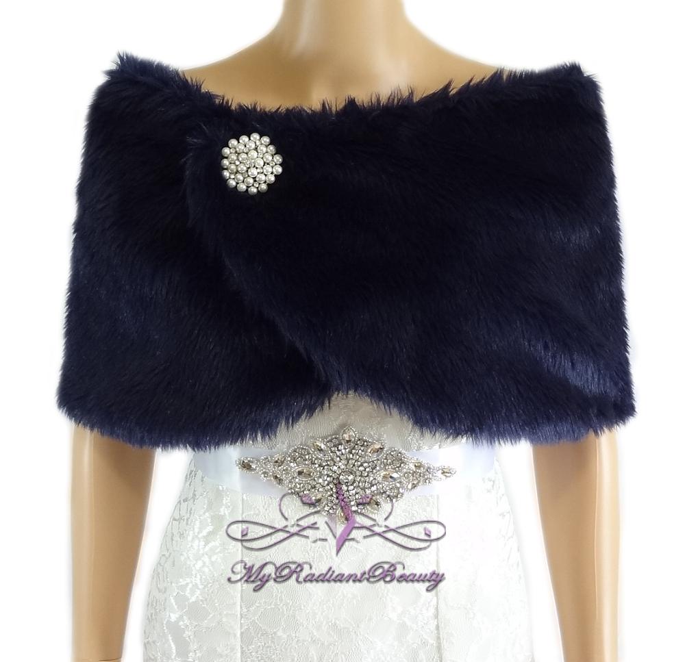 Faux Fur Wrap Bridal Navy Blue Faux Fur Stole Bridal Fur Stole Wedding Stole Faux Fur Shrug Fu