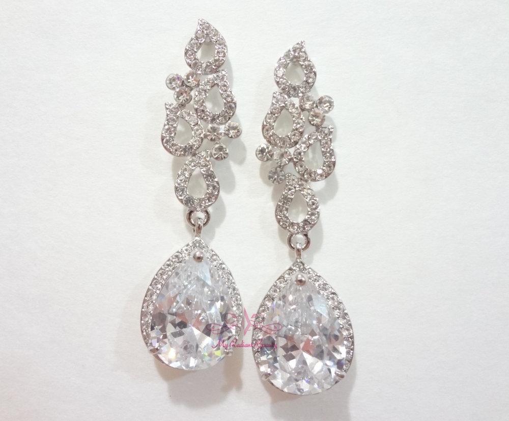 Bridal Bridesmaid Art Deco Drop Flower Earrings Zircon Crystal