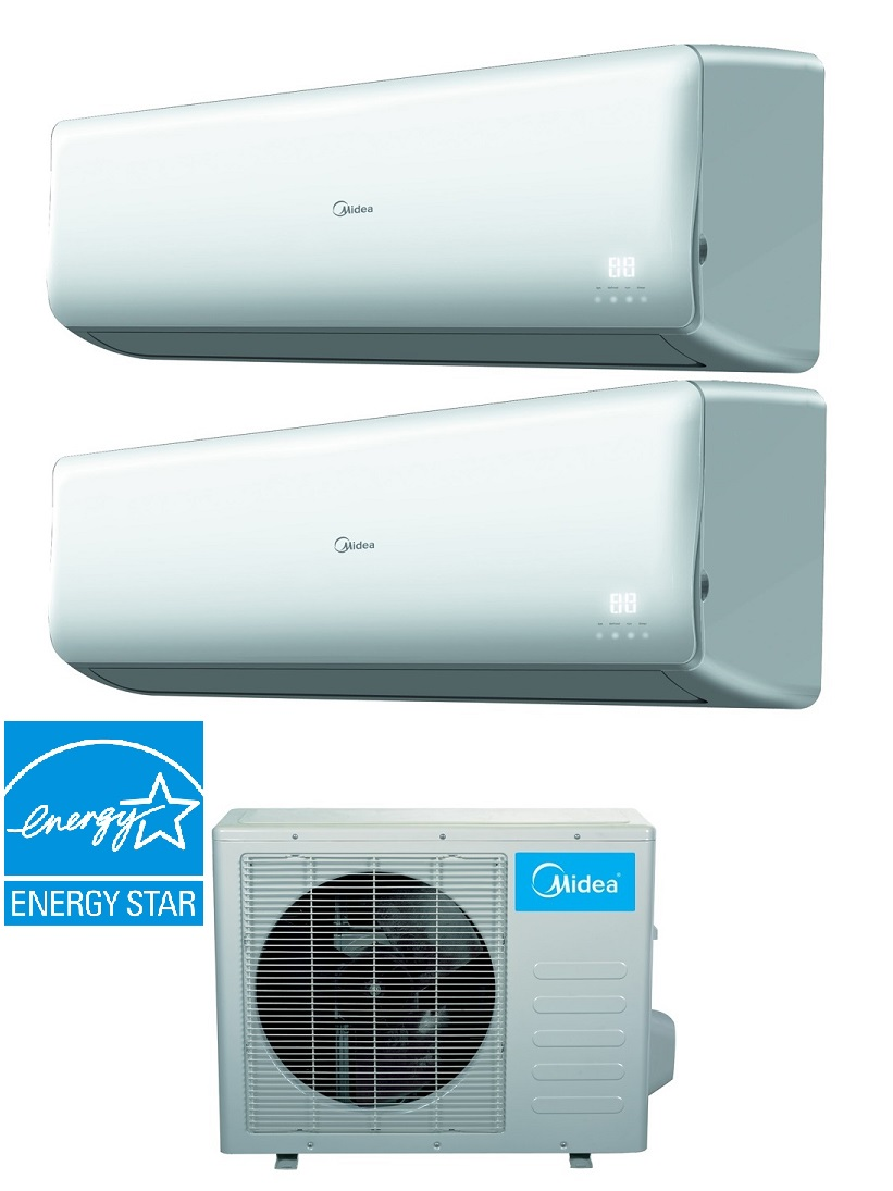 Midea 21 Seer 2 Room 2x9000 Btu Dual Zone Heat Pump Ac