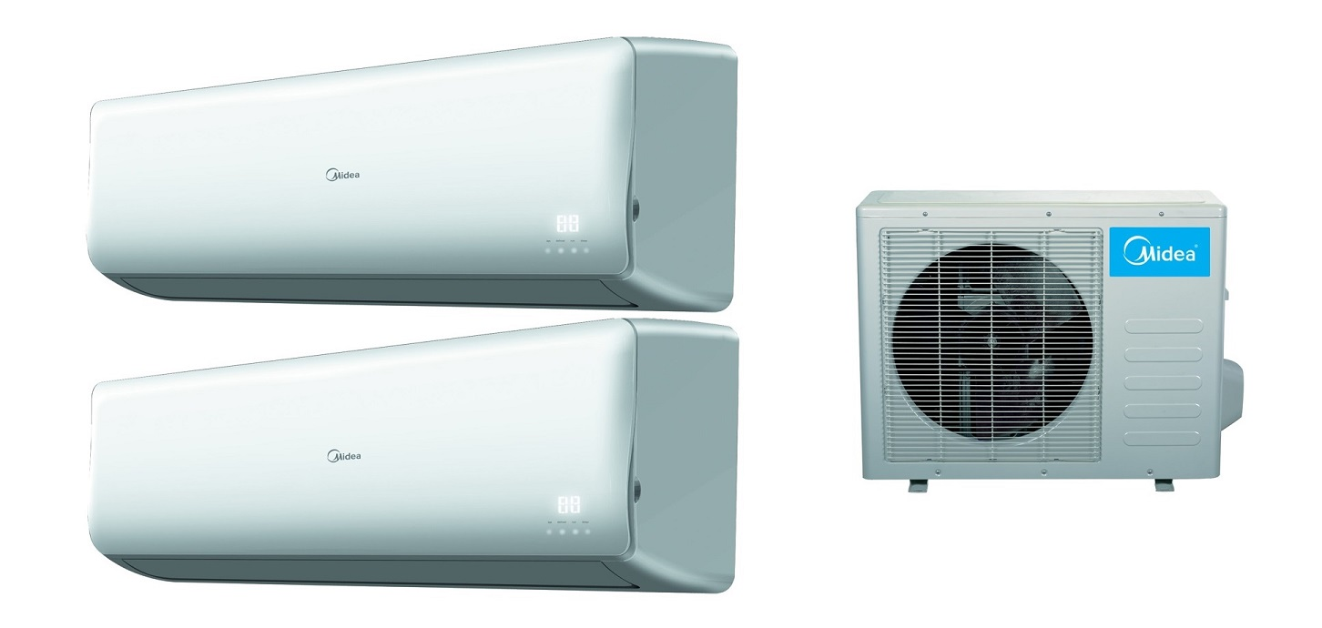 Midea 2x18000 Btu Dual Zone 16 Seer Inverter Mini Split