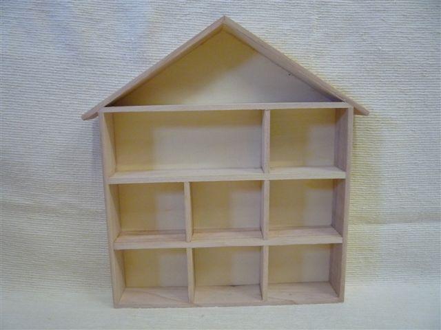 House Shape Wooden Display Shelf Unit Unpainted -Thimbles- Doll's House  Miniatures - Ornaments