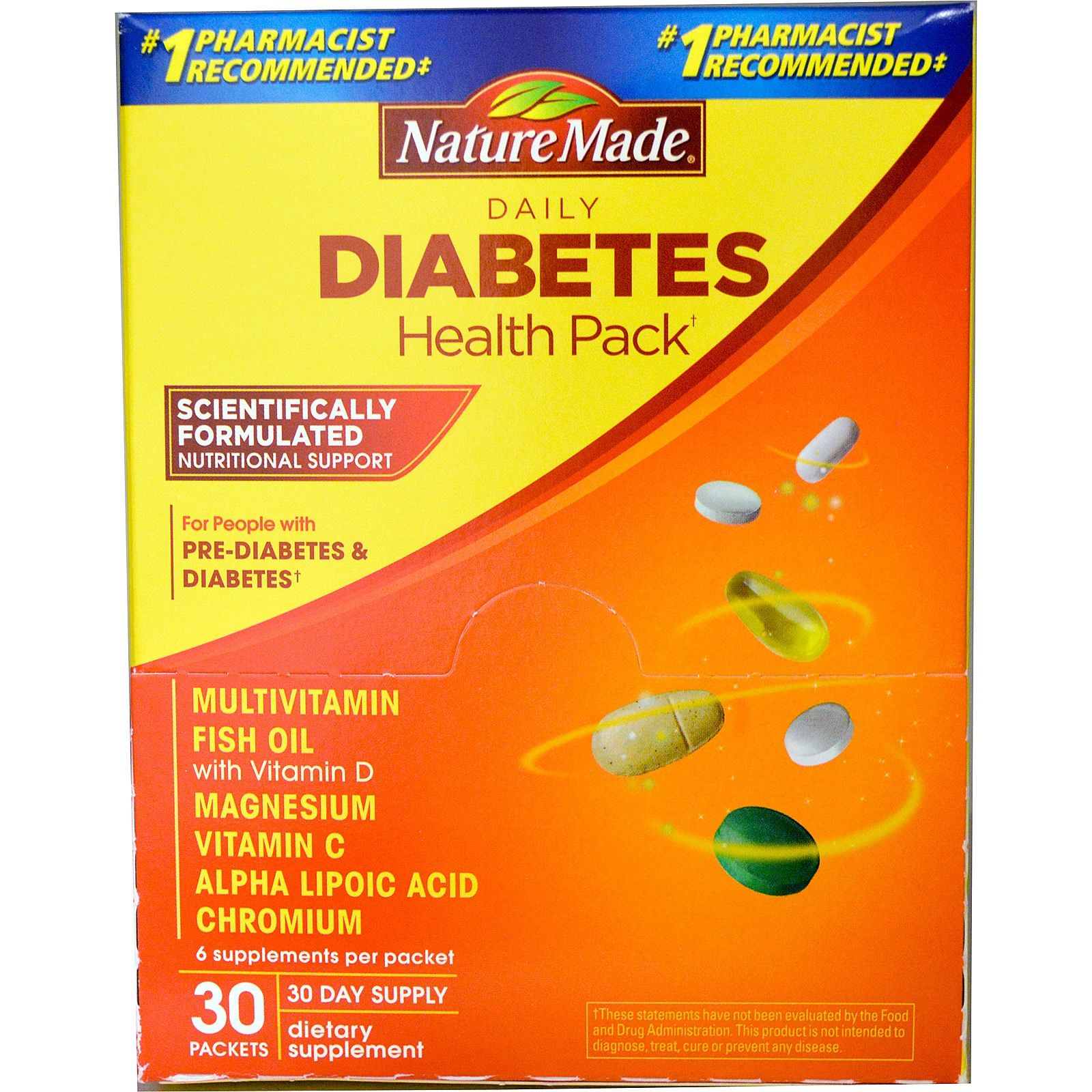 nature made daily diabetes health pack 30 packets 6