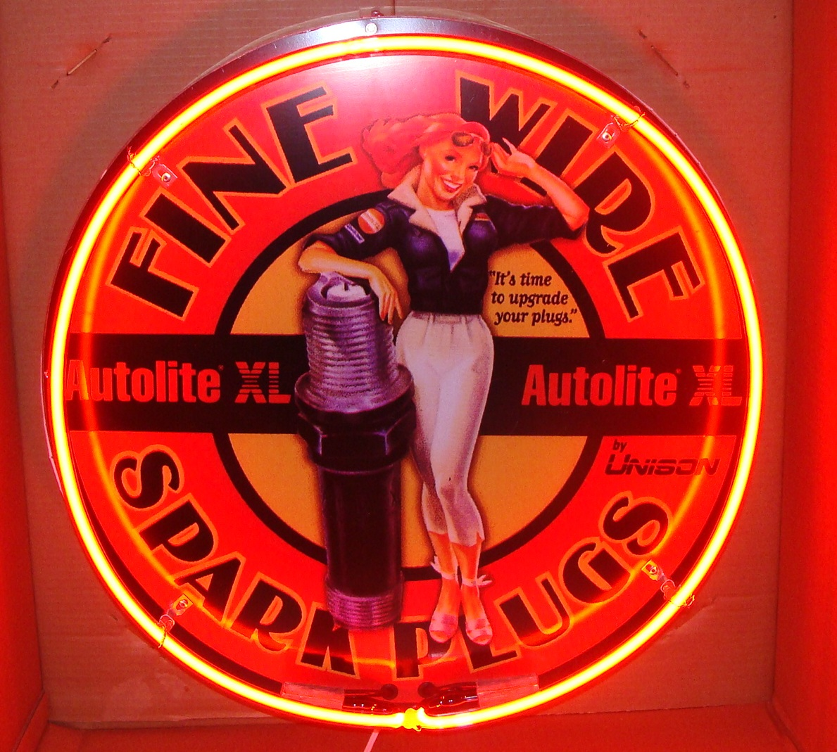 Aviation Autolite Spark Plug Pin-Up Girl Advertising Neon 24 inches round