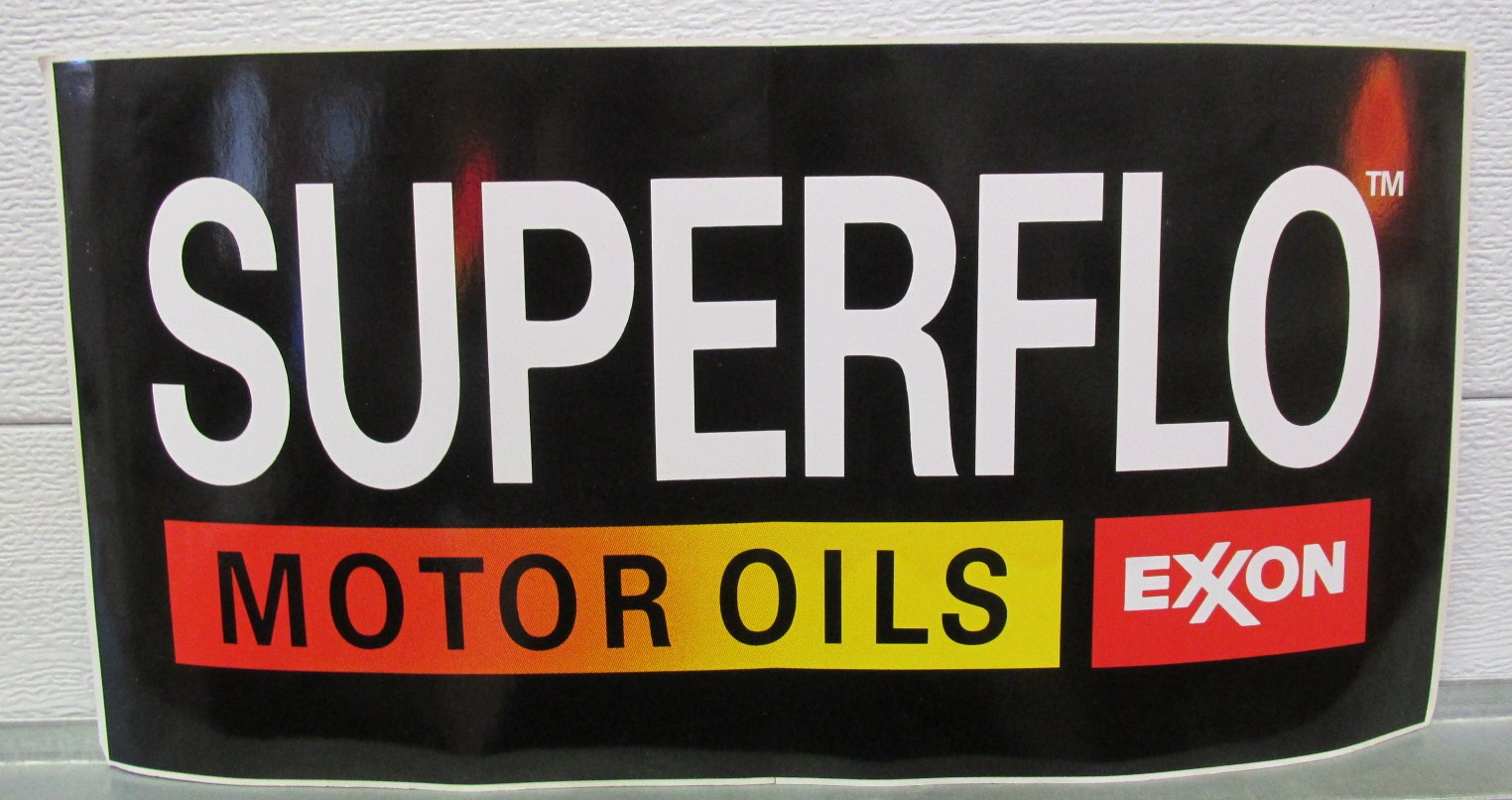 Superflo Motor Oils Exxon Black Vinyl Decal