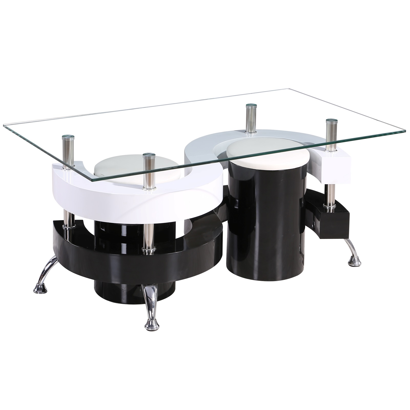 8a6d9cdf0cea Product Details. Gr8 Home S Shape Rectangular Glass Dining Coffee Table And  2 Stools Chairs Set