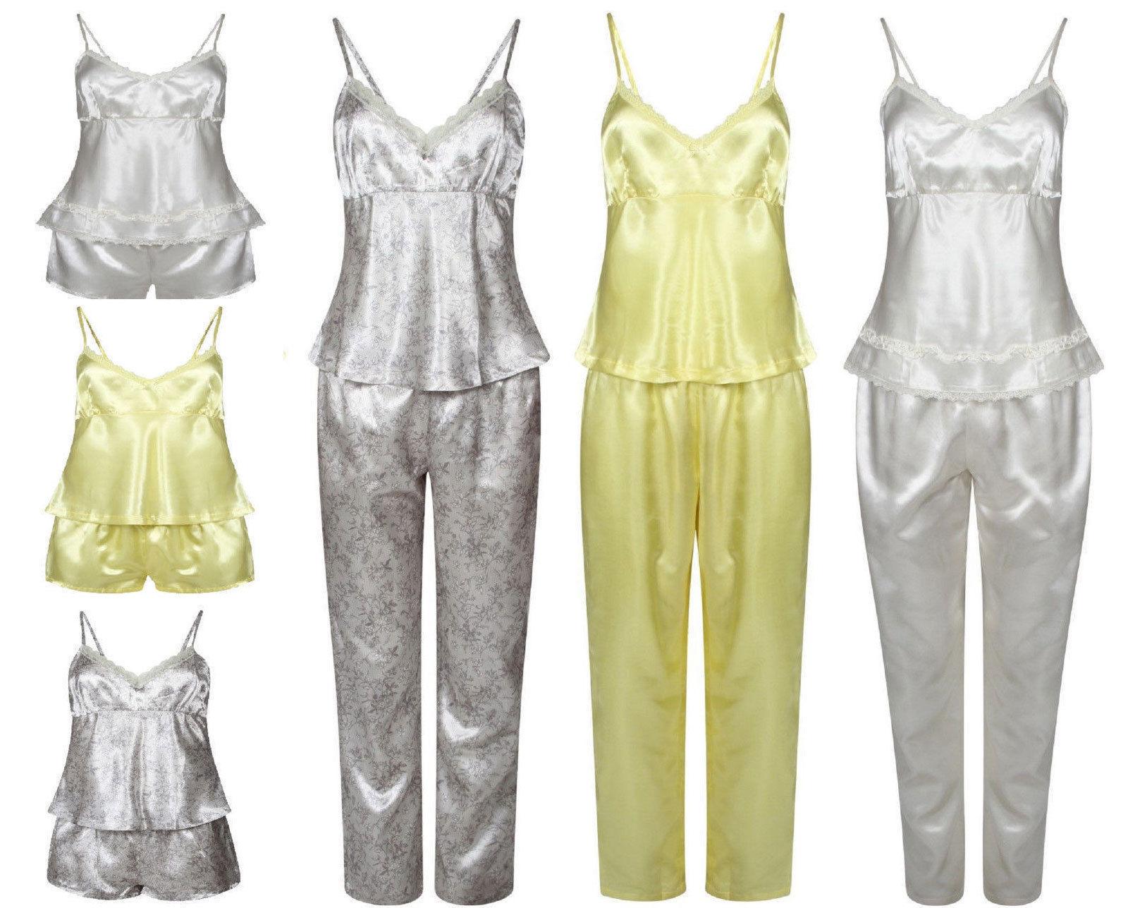 3336ca8bf0 Product Details. Ladies 3 Piece Satin Pyjama Set Womens Vest Lace Shorts  PJ S Nightwear