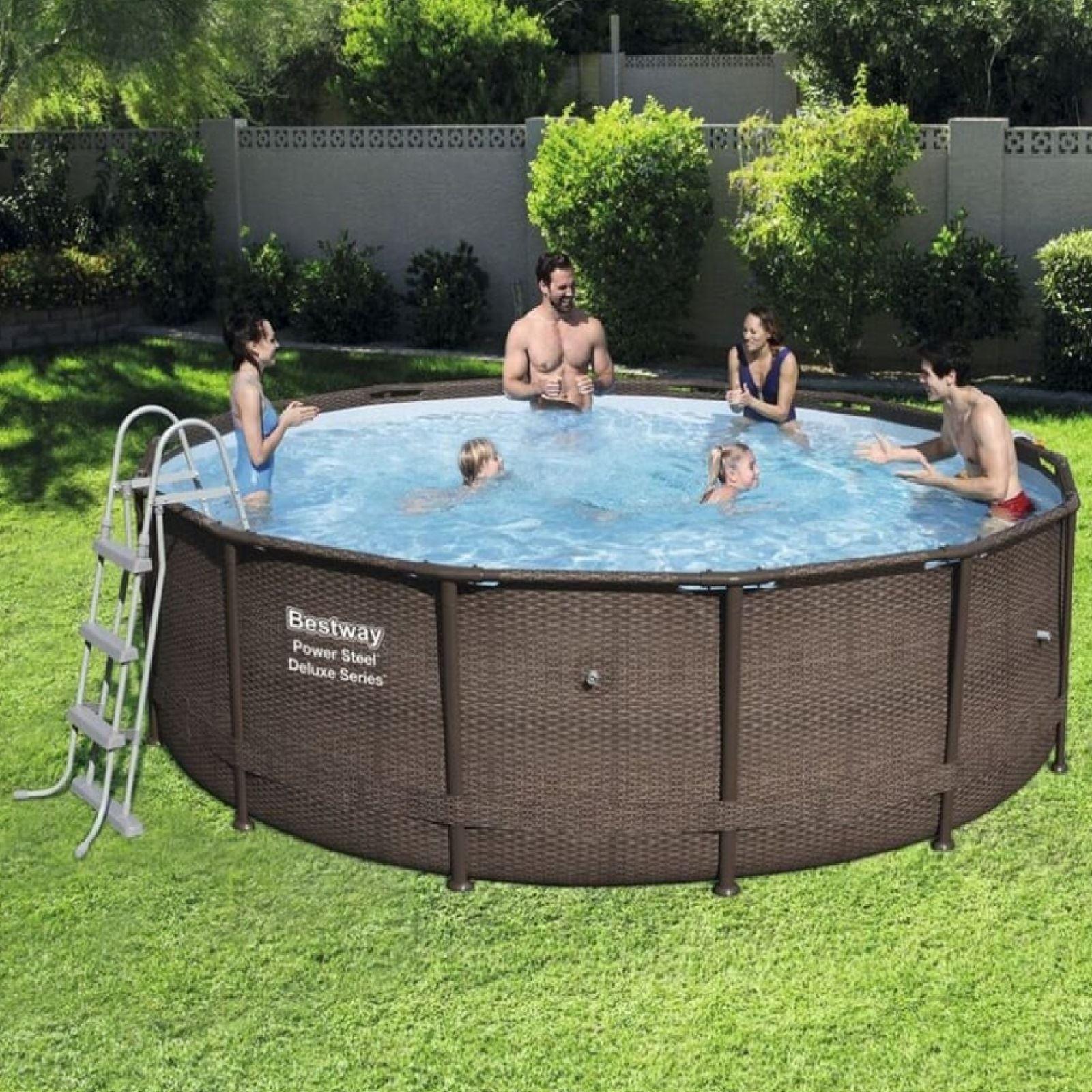 Bestway 14ft Rattan Swimming Pool Filter Pump Ladder Garden Steel