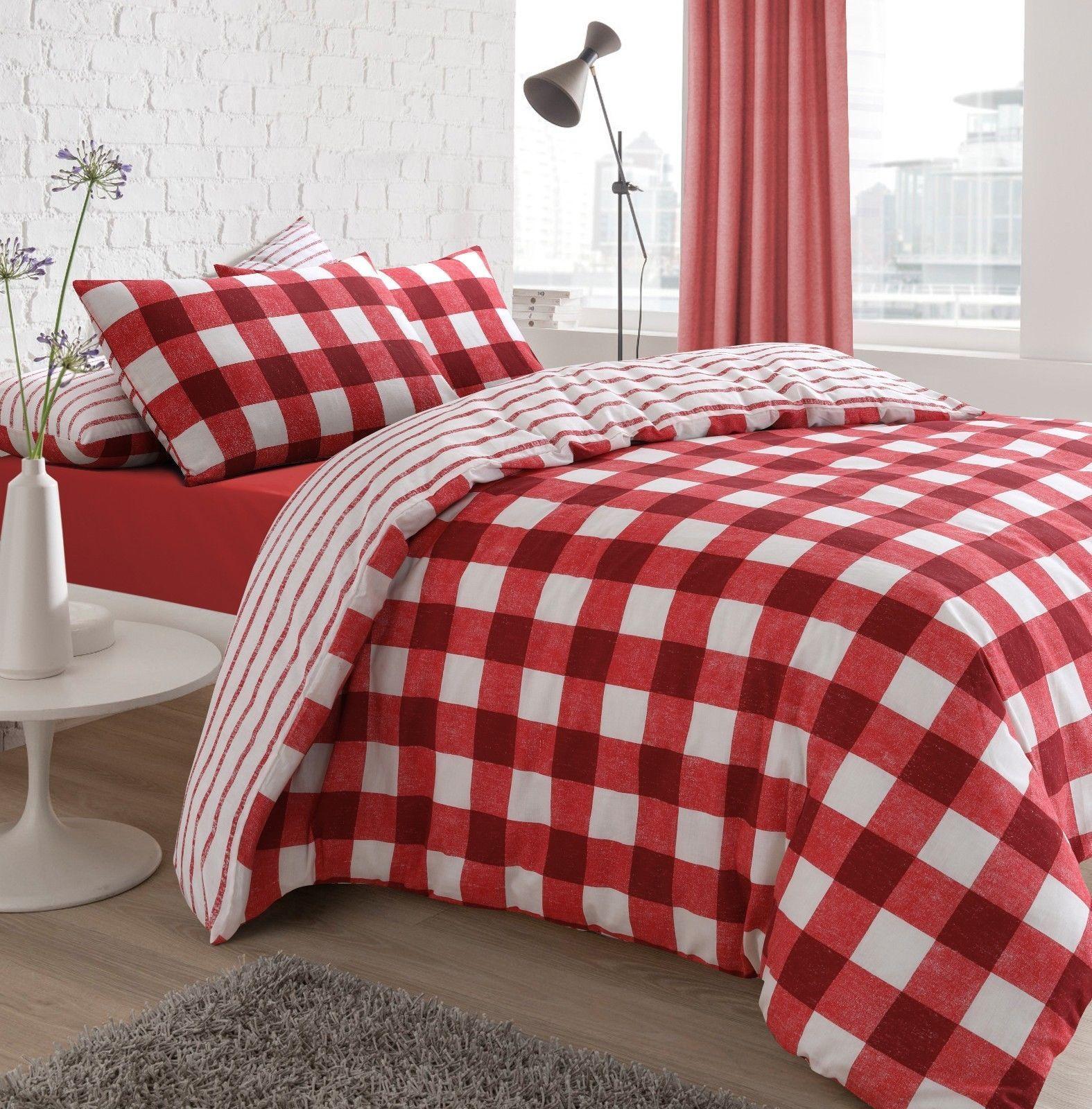 Gingham Check Stripe Line Tartan Duvet Set Luxury Quilt Cover
