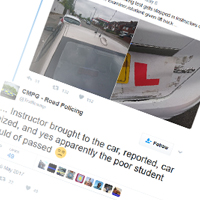 Learner driver test interrupted by police over instructor's car
