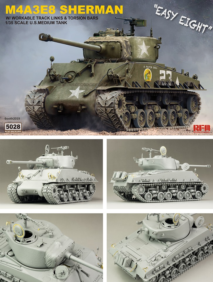 Rye Field Model Sherman M4A3E8 W/ Workable Track Links 1/35
