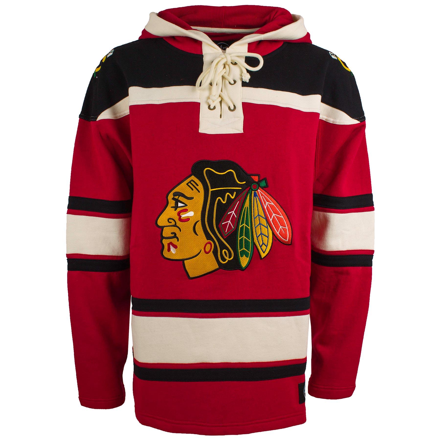 Chicago Blackhawks Old Time Hockey Lace Up Jersey Hooded Sweatshirt 0fdb9de2672