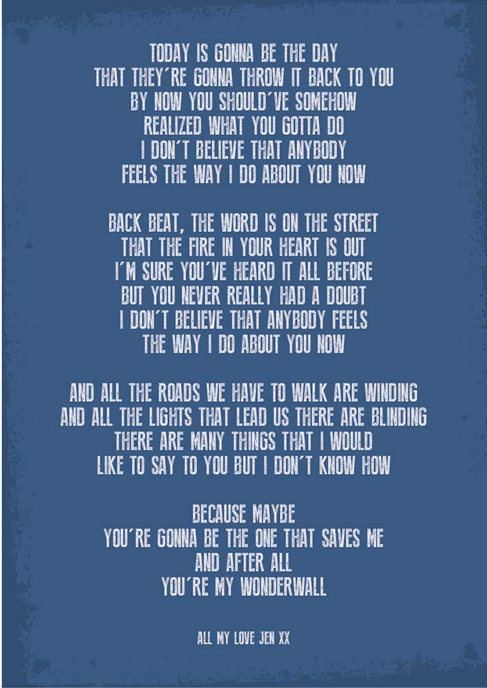 Song lyrics poster
