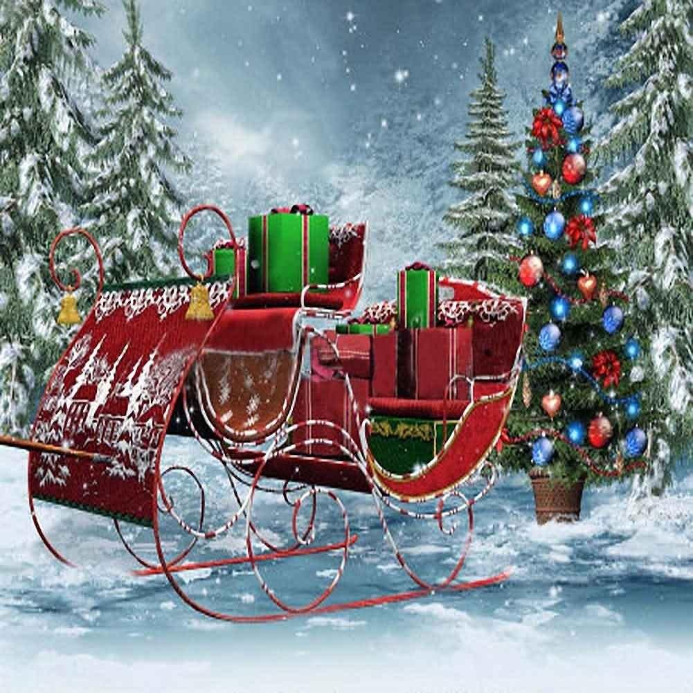 10 X 10 Santa Sleigh Backdrop