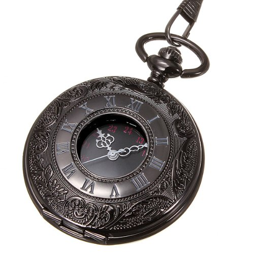 236b6326b Vintage Hollow Roman Flower Alloy Black Men / Women Pocket Watch