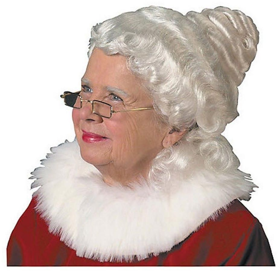 Beautiful Mrs Claus Wig Costume Hairpiece In White