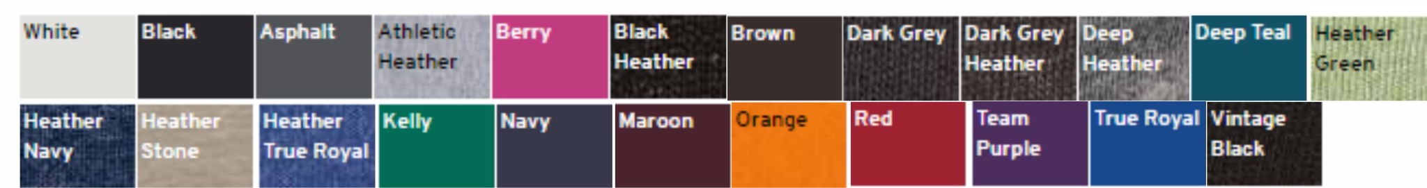 Bella/Canvas color chart
