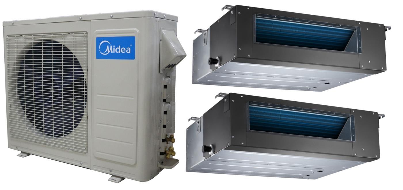 Midea 21 Seer 2x18000btu Slim Ducted Mini Split Heat Pump AC #175FB4