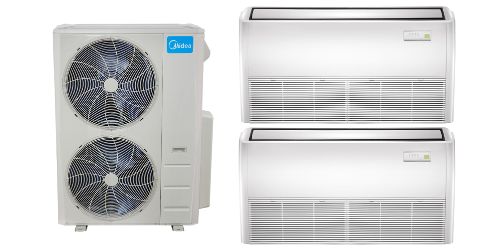#0884C3 Midea 20.5 Seer 2x24000 BTU Universal Dual Zone Mini Split  Highly Rated 5259 Mini Split Heat Pump Sizing wallpapers with 2048x1024 px on helpvideos.info - Air Conditioners, Air Coolers and more